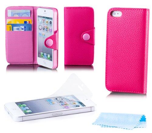 Apple iPhone SE / 5S / 5   iCues Knopf Klapp Tasche Rosa   [Display Schutzfolie Inklusive] Leder - Imitat Book Klapphülle Schutz Etui Handytasche zum aufklappen Flip Case Schutzhülle Booklet Hülle Wal
