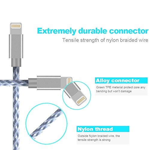 2x3FT 2x6FT 10FT Phone Cable,QIANXIANG 5Pack USB Data Sync Nylon Braided Charger Cord I Compatible with Phone XS MAX XR X 8 8 Plus 7 7 Plus 6s 6s Plus 6 6 Plus and More