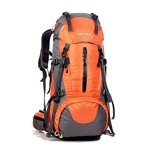 Price comparison product image ONEPACK 50L(45+5) Hiking Backpack Daypack Waterproof Outdoor Sport Camping Fishing Travel Climbing Mountaineering Cycling Skiing with Rain Cover (Orange)