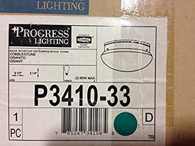 Progress Lighting P3410-33 2-Light Close-To-Ceiling Fixture, Cobblestone