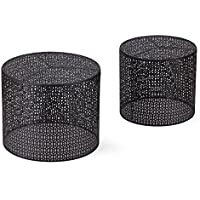 Joveco Round Nesting Side/End/Coffee Table, Black, 2 Piece Set