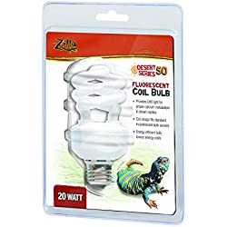 Zilla Reptile Habitat Lighting UVB Fluorescent Desert Coil Bulb, 20W