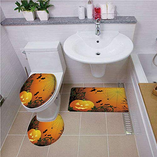 Bath mat set Round-Shaped Toilet Mat Area Rug Toilet Lid Covers 3PCS,Spider Web,Halloween Themed Composition with Pumpkin Leaves Trees Web and Bats Decorative,Orange Dark Green Black ,Pattern Rug Set ()