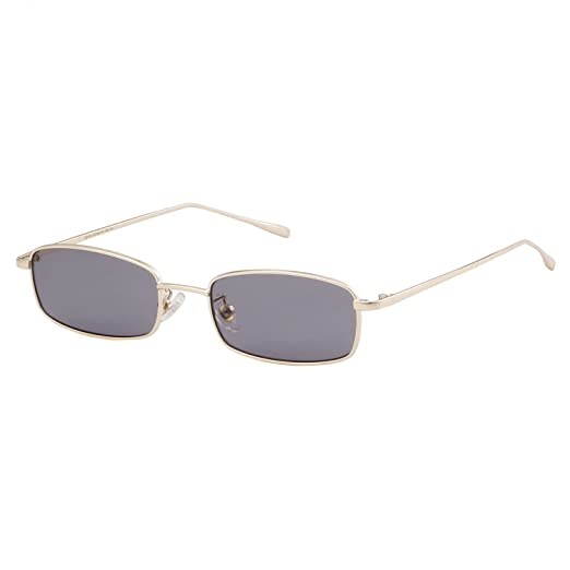 Amazon.com: Sunglasses for Women Men Small Metal Frame Square Clear ...