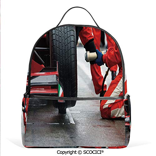 Casual Fashion Backpack Professional Racing Team at Work Pit Stop Racecar Fast Tyre Changing Image,Multicolor,Mini Daypack for Women & - Car Stop Pit Race