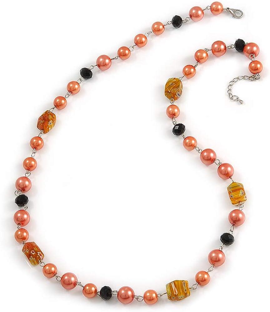 Avalaya - Collar de perlas naranja melocotón, cristal negro y cuentas de cerámica, 72 cm de largo y 4 cm de largo