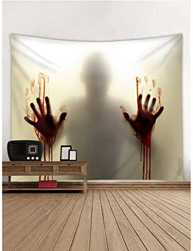 (Muuyi Wall Decor Tapestry, Halloween Festive Atmosphere Wall Hanging Blanket With Blood Hand Person Shadow Clear Effect Wall Decorations Tablecloth Holiday Living Room Decoration - 80x60)