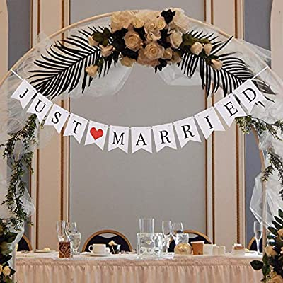Miranor - Just Married Banner - Just Married Banner Wedding - Just Married Banner for Car - Wedding Decorations for Reception - Wedding Car Decorations Kit (Not Strung)