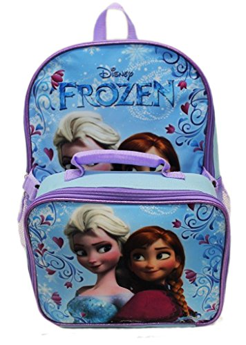 Disney Frozen Anna Elsa Classic Girls Backpack with Detachable Lunch Kit 15