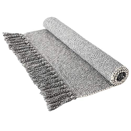 (Wolala Home 100% Cotton Hand Woven Reversible Rag Rug Gray&White Tassels Design Handmade Area Rug Livingroom/Entryway Machine Washable Rug Pad (2'x4'3))