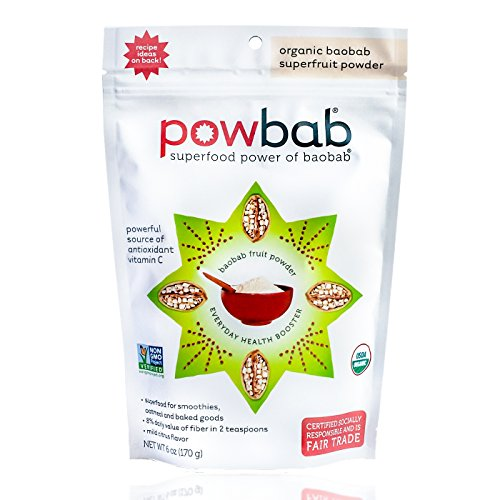 powbab Organic Baobab Powder, Raw Dried Fruit Pulp Boost with Vitamins C, Fiber, Electrolytes, Antioxidant Energy Immune Booster for Smoothies + Juice, 39 servings. 6 oz