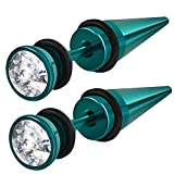 Green Anodized Stainless Look-Alike Taper Expander with Clear CZ Body Jewelry Earrings - (27 mm x 6 mm)