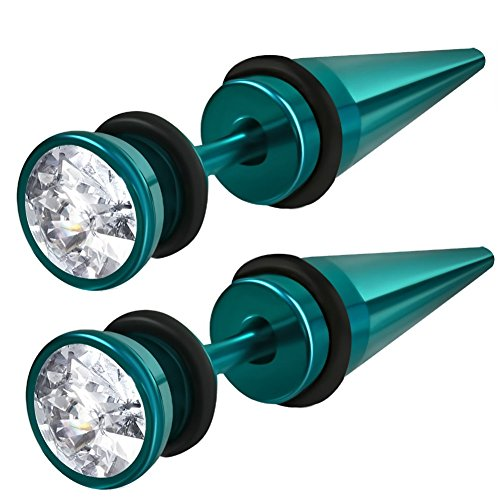 Green Anodized Stainless Look-Alike Taper Expander with Clear CZ Body Jewelry Earrings - (27 mm x 6 mm) by Timeless-Treasures
