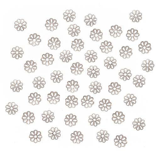 (Beadaholique JW292/6S Open Petal Flower Bead Caps, 6mm, Bright Silver Plated)
