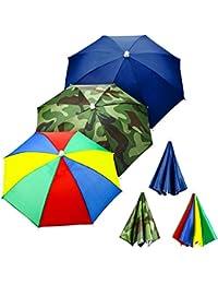 3 Pieces Rainbow Umbrella Hats Camouflage Fishing Cap Beach Umbrella Headband in