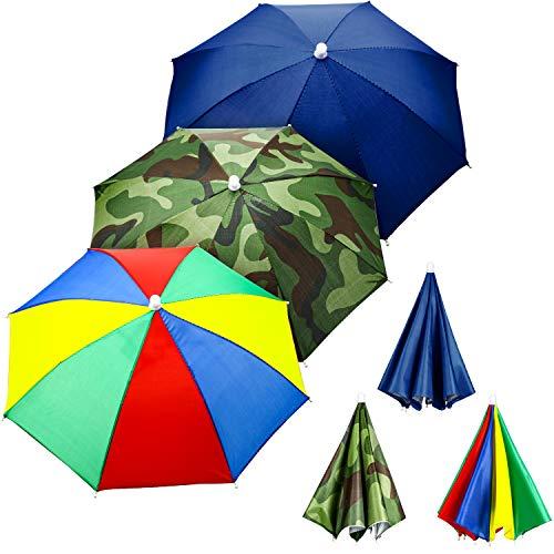 3 Pieces Rainbow Umbrella Hats Camouflage Fishing Cap Beach Umbrella Headband in (Style B)]()
