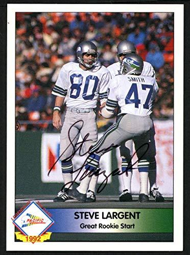 (Steve Largent Autographed 1992 Pacifc Autograph Card Seattle Seahawks #200/1000 SKU #147786 - NFL Autographed Football Cards)