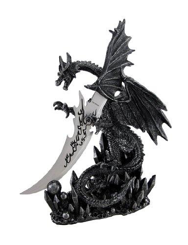 "Cool ""Obsidian Blade"" Dragon Dagger and Holder Goth"