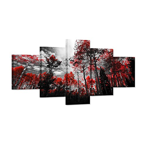 Hello Artwork - Canvas Wall Art Large Red Trees Painting Autumn Red Forest Nature Landscape 5 Pieces Stretched And Framed Wall Decor For Living Room Ready To Hang by Hello Artwork