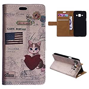For Galaxy J7 Case, FocusUp Premium Samsung Galaxy J7 J700 Wallet Case Pouch PU Leather With Folio Flip Magnetic Strap Card Slot Stand Protection USA Cat Style