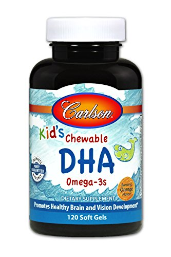 Carlson Kid's Chewable DHA, Orange, 100 mg DHA, 120 Soft Gels