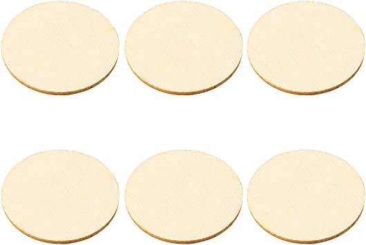 DIY Blank Round Wood Pieces 50PCS Natural Wooden Unfinished Slice Wood Discs Crafts Home Ornaments Card Making