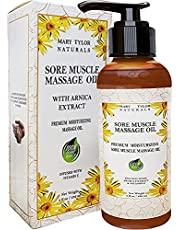Sore Muscle Massage Oil w/ Arnica Extract (8 Fluid Oz) – Men, Women – Warming, Relaxing, Stress Relief, Massaging Sore Muscles, Joints, and Much More, By Mary Tylor Naturals