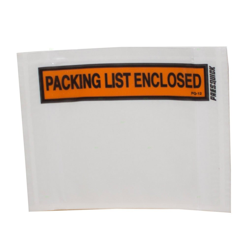 1000 Pc Case Clear Packing List Enclosed Envelopes Inventory Document Purchase Slip Pouch w/Adhesive Pack for Shipping Warehouse Retail