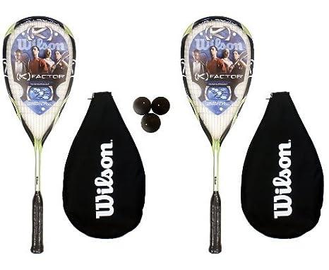 Wilson - Set de 2 raquetas y 3 pelotas de squash: Amazon.es: Deportes y aire libre