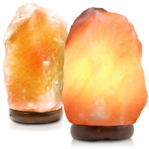 2 Bundle Natural Crystal Himalayan Salt Lamp, Himalayan Glow Hand Carved Natural With Genuine Wood Common, Bulb Dimmer Control, Amber, 6 to 8 Inch, 6 to 7 lbs. By Makony