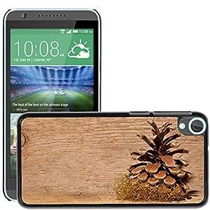Etui Housse Coque de Protection Cover Rigide pour // M00153013 Fondo del cono del pino de madera // HTC Desire 820
