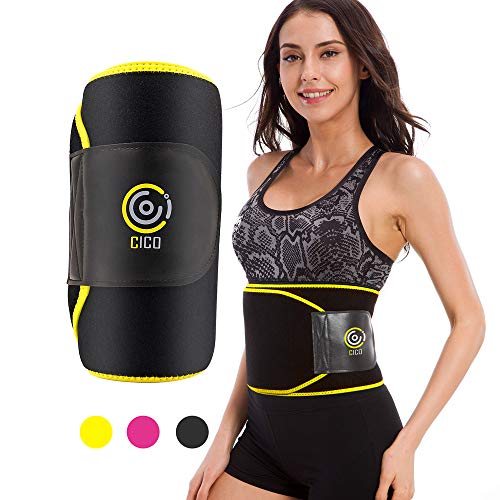 CICO Waist Trimmer Trainer, Premium Weight Loss Ab Belt for Men & Women, Workout Sweat Enhancer Exercise Adjustable Sauna Wrap Fat Burner for Stomach- Enjoy Sweet Abdominal Muscle, Yellow Size M