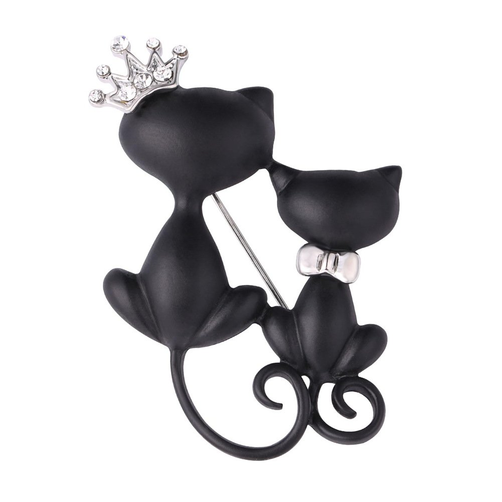 Lovely Crown Cat Brooch & Pin Black Gun Plated Double Kittens Cute Brooches Accessories for Women