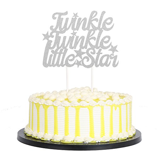 PALASASA Silver Single Sided Glitter Twinkle Twinkle Little Star Cake Topper in for Baby Shower or Birthday Party