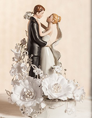 Vintage White and Silver Bride and Groom Wedding Cake Topper