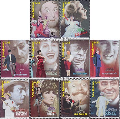 San Marino 2210-2219 (Complete.Issue.) 2005 Artist of Revuetheaters (Stamps for Collectors) Celebrities/Movies/Theater ()