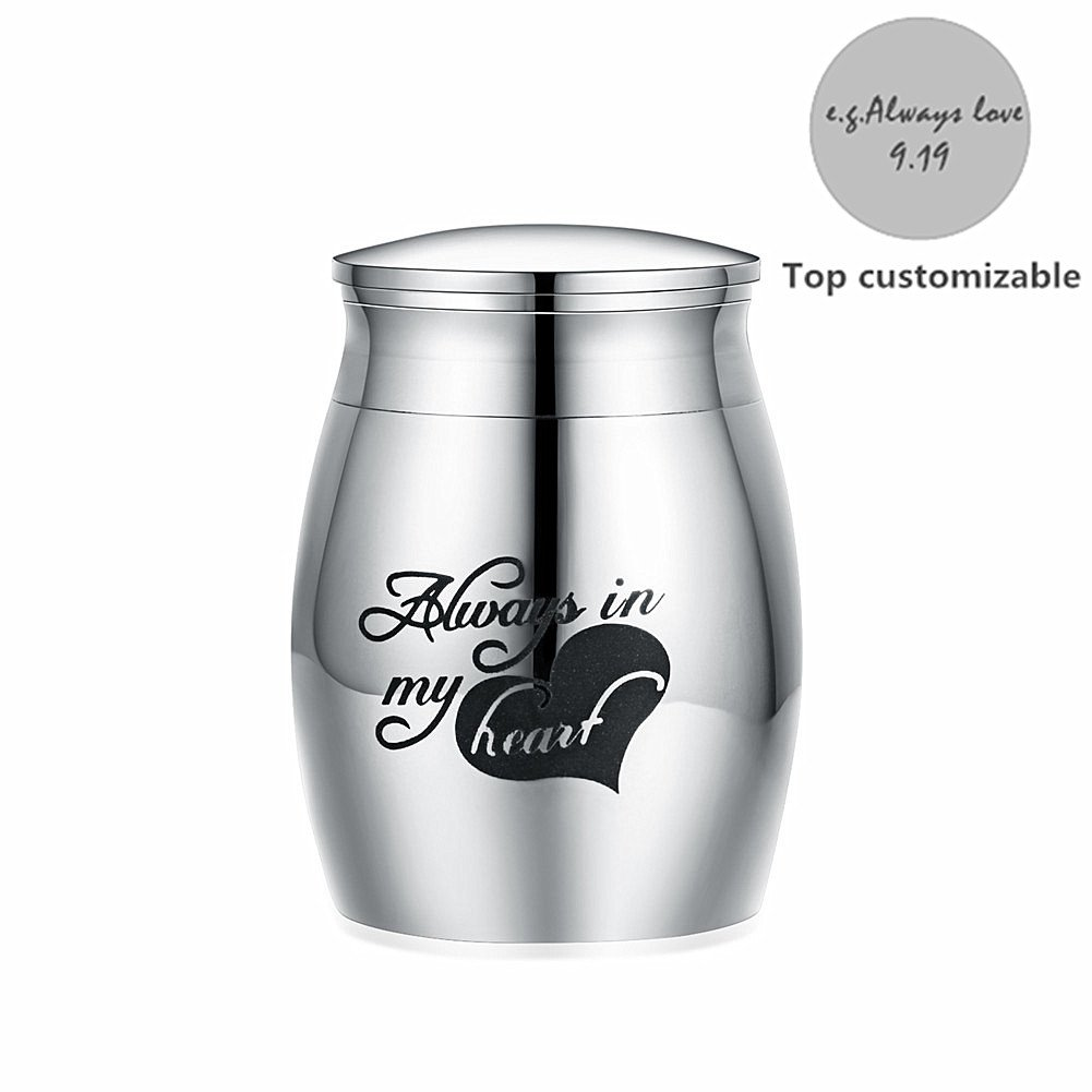 Sunling Free Engraving Stainless Steel Small Decorative Memorial Keepsake Cremation Urns Jar For Human Pet Ashes-Waterproof,Keep Love Forever