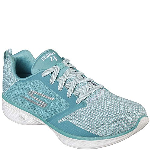 Skechers Women's Go Walk 4 Edge Walking White/Turquoise 9 B(M) US (Skechers Edge)