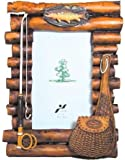 Rustic Wood Log Photo Frame with Fishing Theme Accents 4x6 (Vertical) by WD