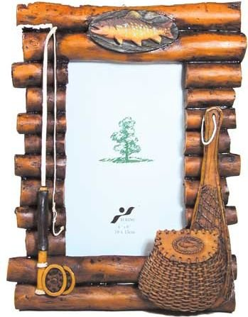 rustic wood log photo frame with fishing theme accents 4x6 vertical by wd