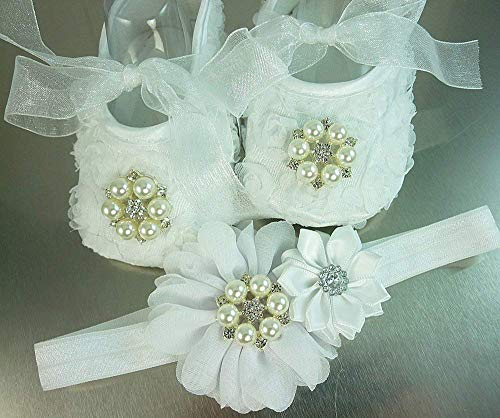 White Rosette Baby Shoes and Headband Set, Pearls and Rhinestones in a Gold or Silver Setting, Soft Crib Wedding Slipper, Christmas, 1st Birthday, Photo Prop, Sizes: 3-18 mos, USA Made