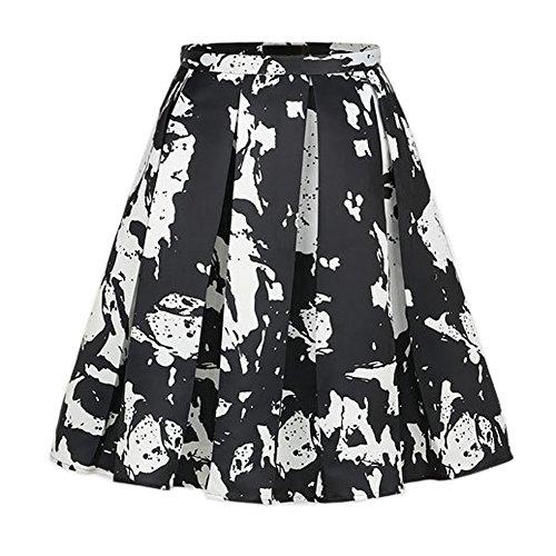 Retro Women Splash-ink Prints Mid-Length A-line Skirt Lady Ball Gown Party (Splash Print Skirt)