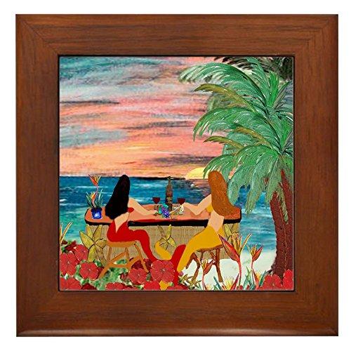 CafePress - Mermaid Tiki Sunset Wine Bar Framed Tile - Framed Tile, Decorative Tile Wall Hanging