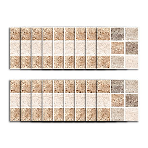 (Fymural Tile Sticker for Kitchen & Bathroom Waterproof Anti-Mold Backsplash Tile Sticker 4x4 Inch Square Stitching Tile Decals for Walls Stairs Deacoration 18PCS (S006))