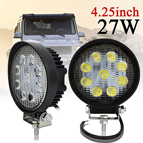 Safego 12V 24V 27W LED Work Lights Lamp for Truck OffRoad 4X4 ATV Tractor 60 Degree Flood Beam 27WR-FL Pack of - Loader Kit Body