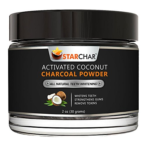 Activated Coconut Charcoal Teeth Whitening Powder by Star Char - 2 oz - All Natural - Mint - Vegan - Enamel-Safe - Made in USA - Tooth Whitener for Sensitivity & Bright White Smile