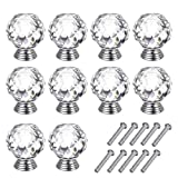 Diamond Kitchen Cabinets Dia. of Crystal 30mm Transparent Glass kids Cabinet Decor Knobs and Pull Handles,Sets of 10 with Screws,Weight 45g