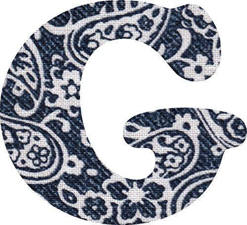 ペイズリー柄 生地 アルファベット G アップリケ ネイビー アイロン接着可能 大文字 3cmの商品画像
