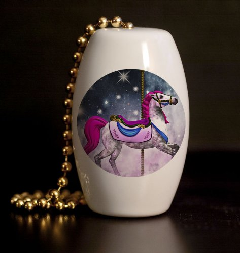Polished Brass Horse (Fantasy Carousel Horse Porcelain Fan / Light Pull)