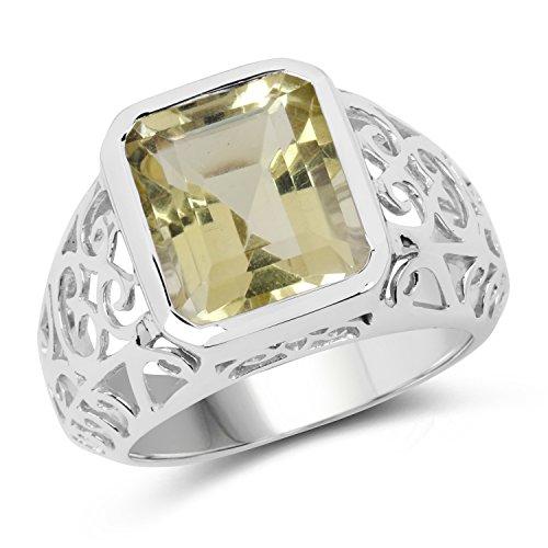 - Johareez Emerald Cut Lemon Quartz Bezel Set Sterling Silver Bold Ring